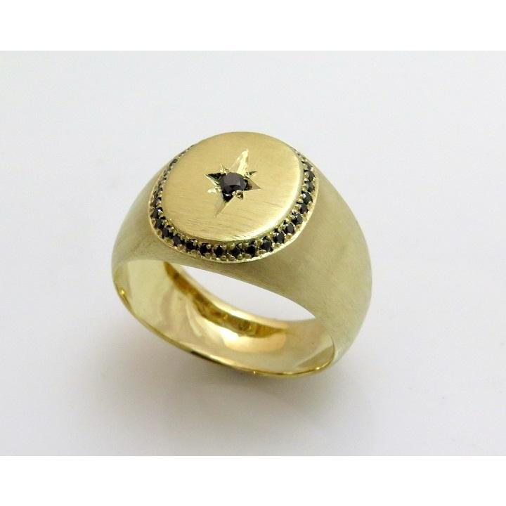 Black diamond signet ring