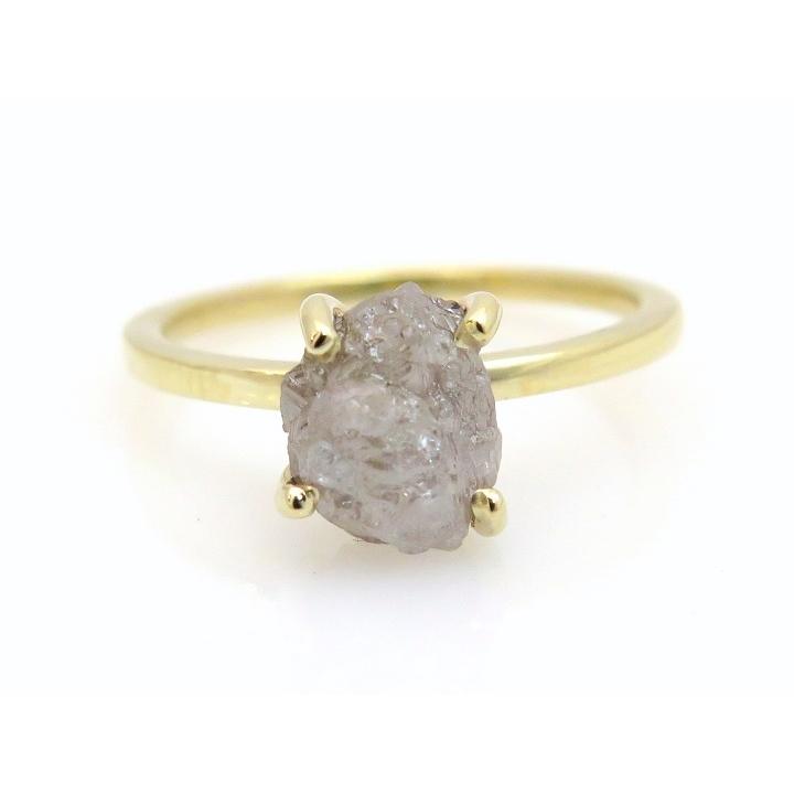 Raw grey diamond ring