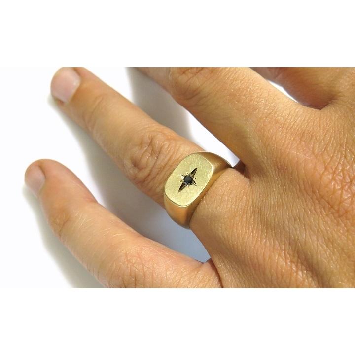 Sapphire matt signet ring