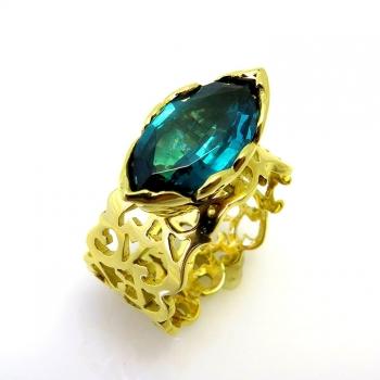 -Tourmaline filigree ring