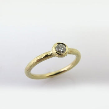 Hammered engagement ring