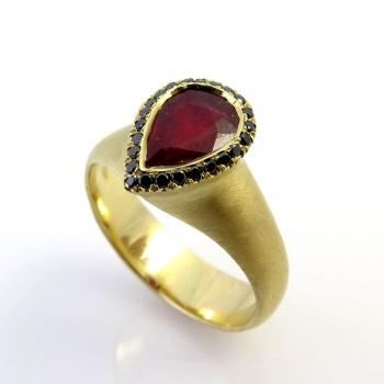 -Drop ruby ring