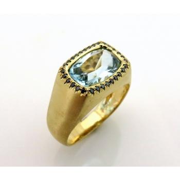Aquamarine and black diamond ring