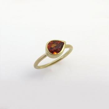 Delicate drop garnet ring