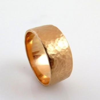 Wide hammered rose gold band